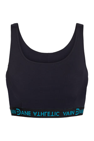 Vain Dane Athletic's Maggie bra in black made with regenerated ECONYL nylon yarn