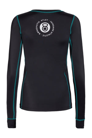vain dane athletic's Ran long sleeved running shirt. Made with ECONYL yarn.