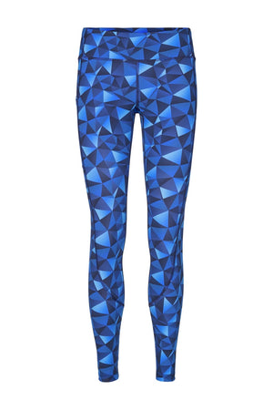 Vain dane athletic's Sigrid leggings with compression and 2 pockets. Made with regenerated nylon from discarded fishing nets. Colour is Ocean blue pattern