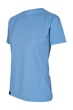 Vain dane athletic's tyra running shirt for women. Blue and Short sleeved