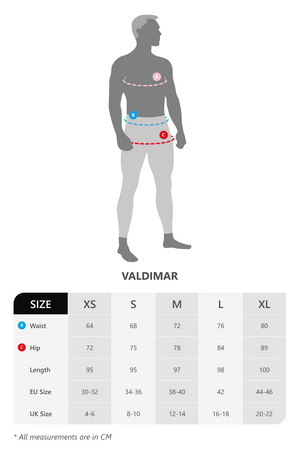 Size chart for Vain Dane Athletic men's leggings with compression. Made with regenerated nylon from discarded fishing nets.