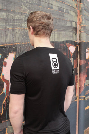 Black Ask T-shirt for men with kettle bell logo on the back