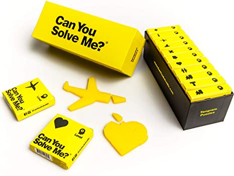 Can You Solve Me? 12 Puzzle Gift Set - Challenging Tangram, IQ Toy, Brainteaser, Mind Game for Children + Adults -Includes 12 Geometric Shapes & 3 Varying Difficulties (Family Game Nights, Desktoy)