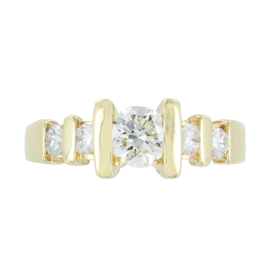 LADIES 14KT GOLD SOLITAIRE DIAMOND CHANNEL SETTING RING SIZE 7.5