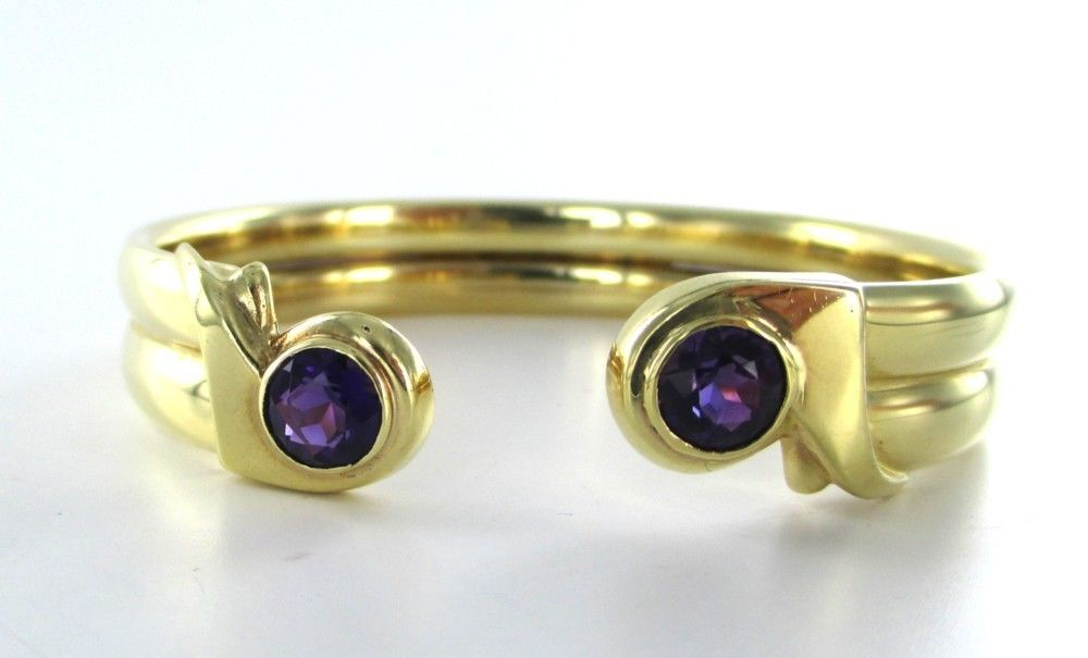 BRACELET 14K YELLOW GOLD WITH PURPLE AMETHYST