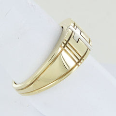 MEN 14KT YELLOW GOLD CROSS WEDDING BAND