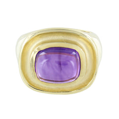 14KT GOLD LADIES AMETHYST CABOCHON RING