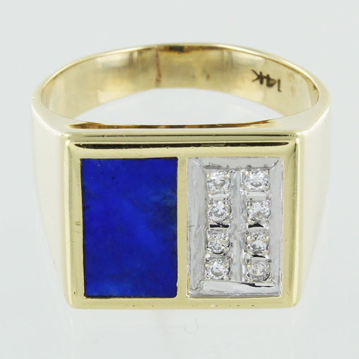 GENTS 14KT DIAMOND & LAPIS RING SIZE 8