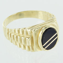 GENTS 14KT GOLD BLACK ONYX RING SIZE 10