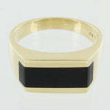 GENTS 14KT GOLD BLACK ONYX RING SIZE 9