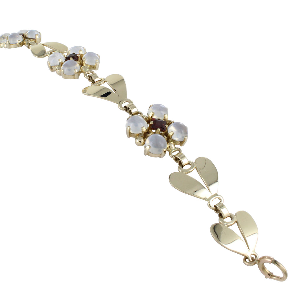 TIFFANY & Co. VINTAGE 14KT GOLD MOONSTONES & GARNET FLORAL DESIGN BRACELET