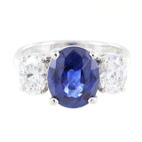 LADIES 14KT WHITE GOLD DIAMONDS & SAPPHIRE COCKTAIL RING
