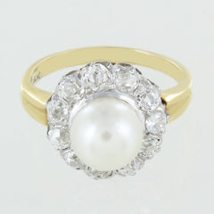 LADIES 14KT GOLD PEARL DIAMOND RING SIZE 4