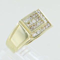 MENS 14KT COCKTAIL RING WITH WHITE STONES SIZE 10