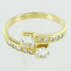 LADIES 14KT GOLD BYPASS DIAMOND RING SIZE 6.5