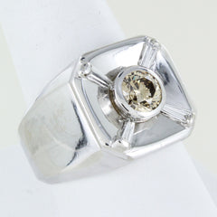 MEN 14KT WHITE GOLD DIAMOND RING SIZE 10