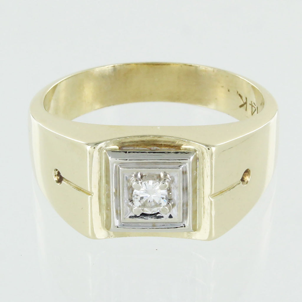 MENS 14KT SOLITAIRE DIOMOND RING SIZE 10
