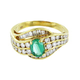 18KT GOLD  DIAMONDS & EMERALD RING