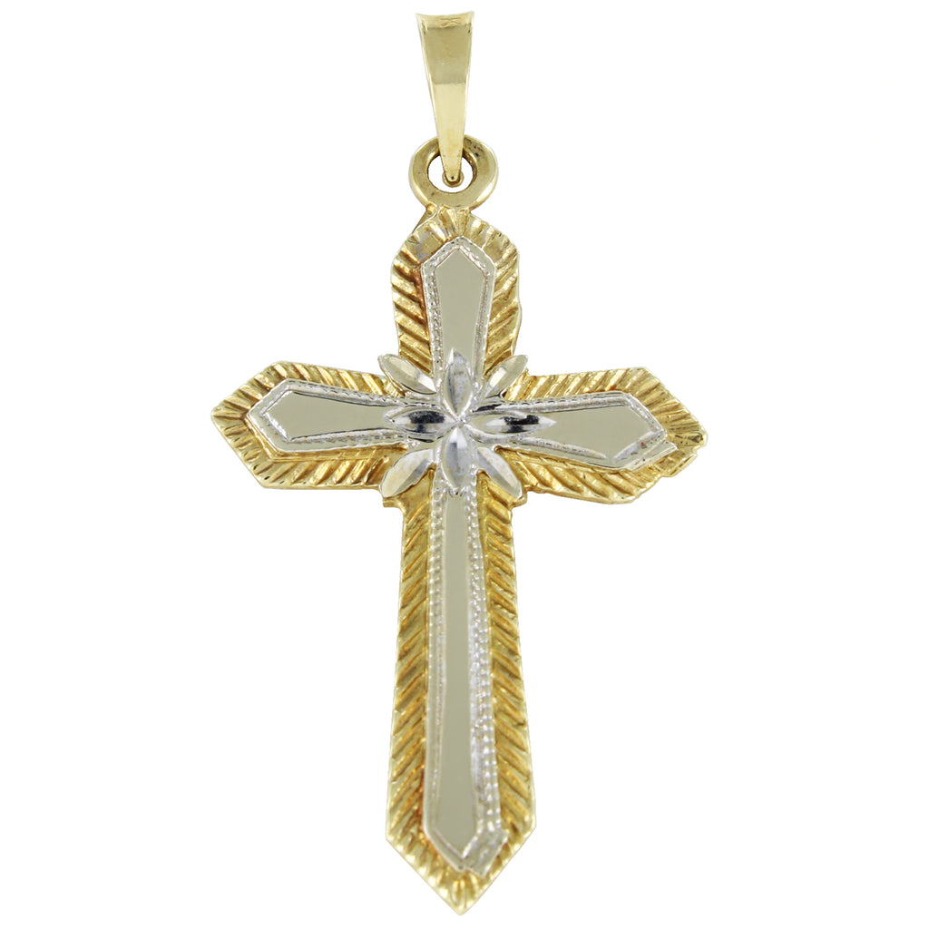 14KT TWO TONE GOLD CROSS PENDANT