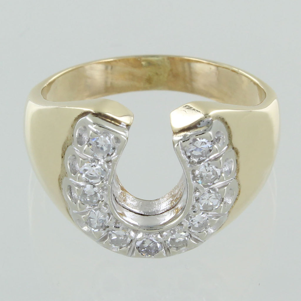 GENTS 14KT GOLD & DIAMOND HORSESHOE MONOGRAM RING SIZE 9.5