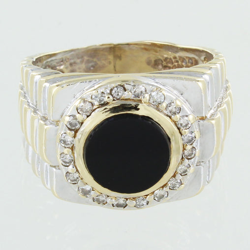 GENTS 14KT GOLD ONYX AND DIAMOND ROLEX LINK STYLE RING SIZE 8