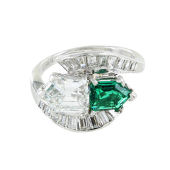DIAMONDS & EMERALD PLATINUM RING