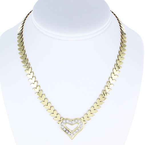 LADIES 14KT HEART DIAMOND NECKLACE