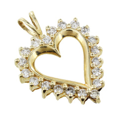 14KT YELLOW GOLD DIAMOND HEART PENDANT