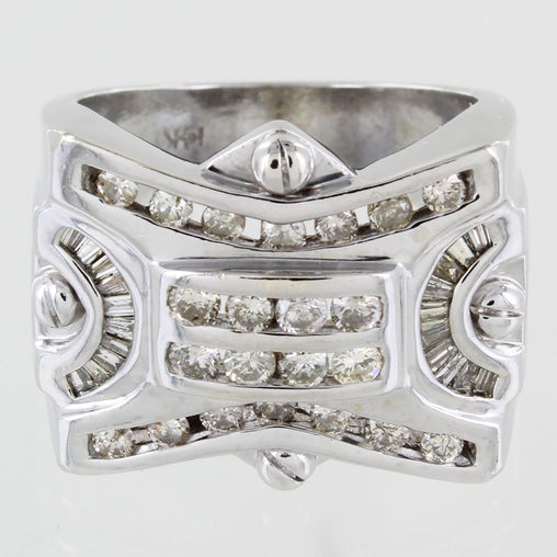 GENTS 14KT CLUSTER DIAMOND RING SIZE 9