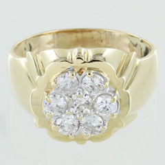 MENS 14KT CLUSTER DIAMOND RING SIZE 10