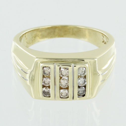 GENTS 14KT GOLD DIAMOND RING SIZE 10