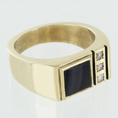GENTS 10KT GOLD BLACK ONYX DIAMOND RING SIZE 10