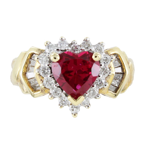 LADIES 14K GOLD DIAMONDS & HEART SHAPE RUBY RING