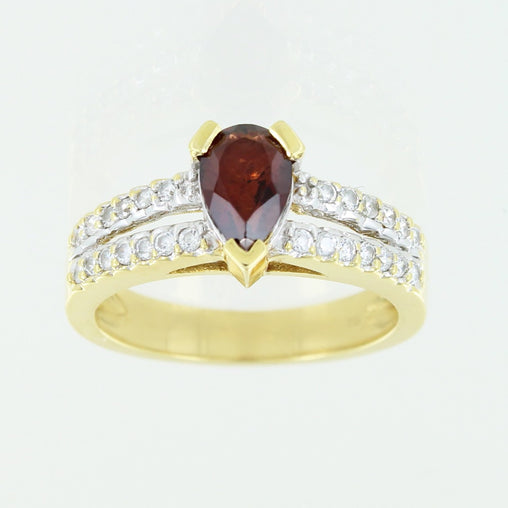LADIES 18 KT COLORED STONE RING SIZE 7
