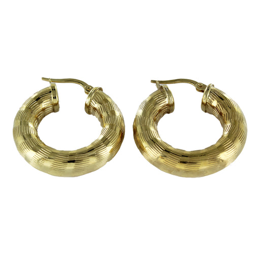 14KT YELLOW GOLD EARRINGS HOOP 5.1 GRAMS RIBBED HOOP FINE JEWELRY