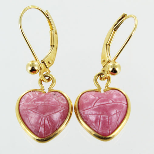 LADIES 14KT RHODOCHROSITE HEART DANGLE EARRINGS