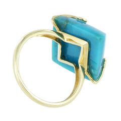 14KT GOLD LADIES TURQUOISE COLORED STONE RING