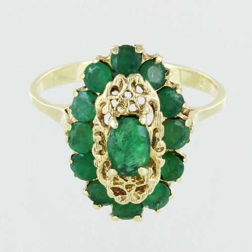 LADIES 14KT EMERALD CLUSTER RING SIZE 7.5