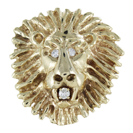 14KT GOLD LION'S HEAD WITH 2 WHITE STONES AND 1 DIAMOND