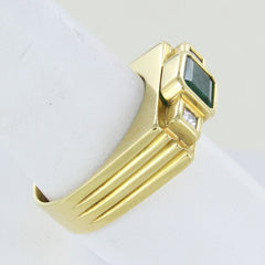 MAN 18KT  GOLD EMERALD & DIAMOND RING