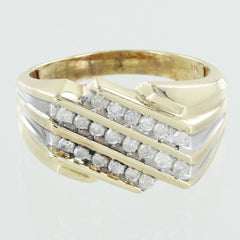 MENS 10KT GOLD CLUSTER DIAMOND RING SIZE 12