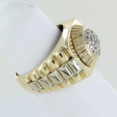 MANS 14KT  ROLEX STYLE CLUSTER DIAMOND RING SIZE 6.5