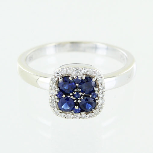 LADIES 14 KT GOLD DIAMOND & SAPPHIRE RING SIZE 7