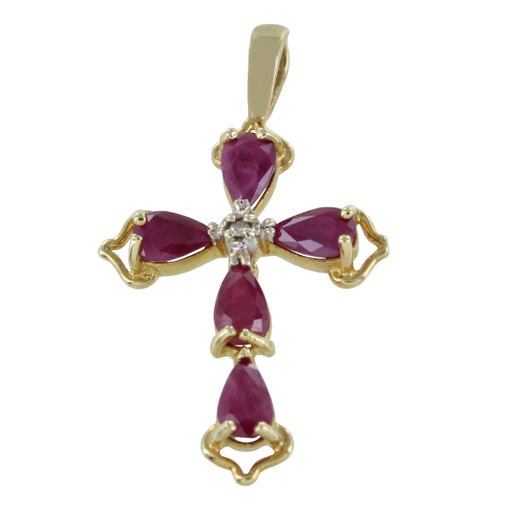 14KT DIAMOND & RED STONES GOLD CROSS