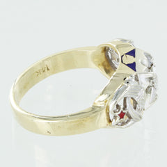 MENS 14K DIAMOND MONOGRAM RING SIZE 11
