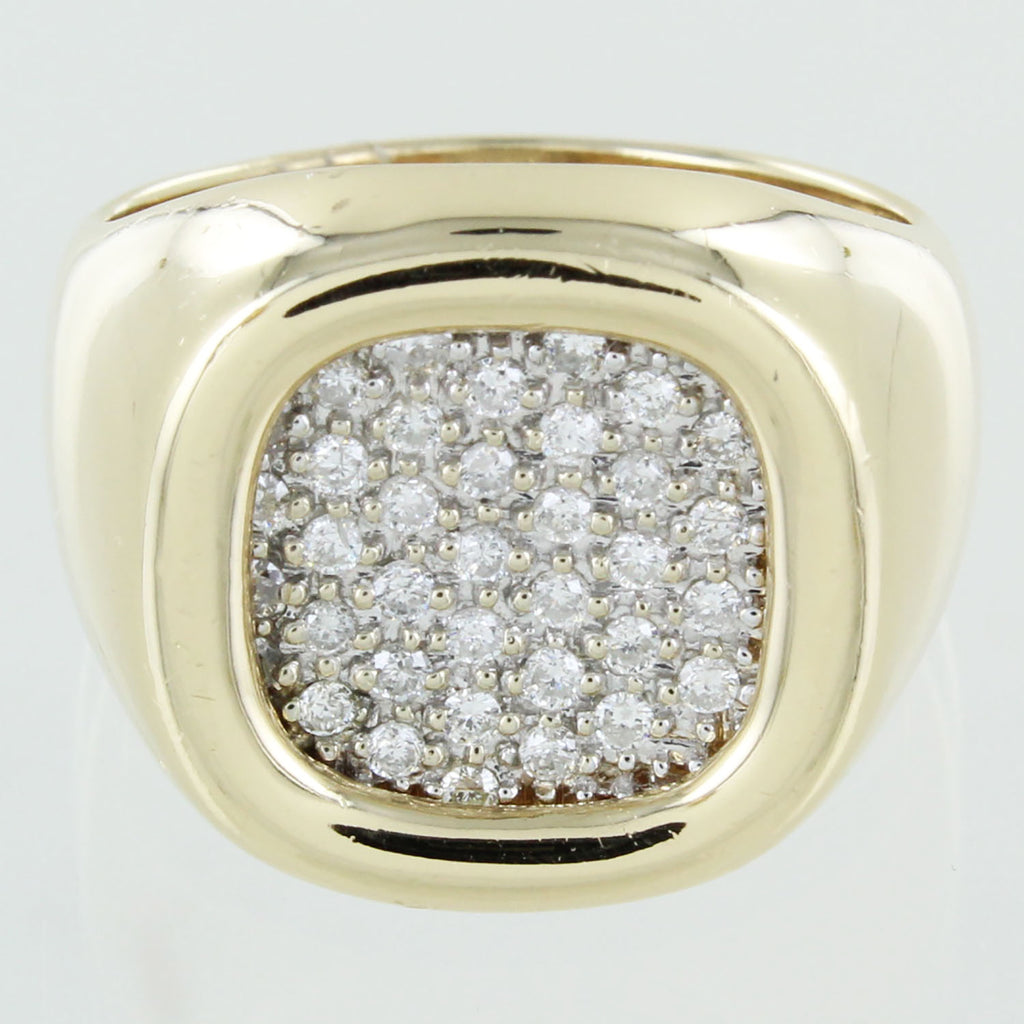 MENS 14 KT CLUSTER DIAMOND RING 9.5