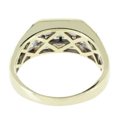 MENS 14KT TWO TONE DIAMOND GOLD RING SIZE 9
