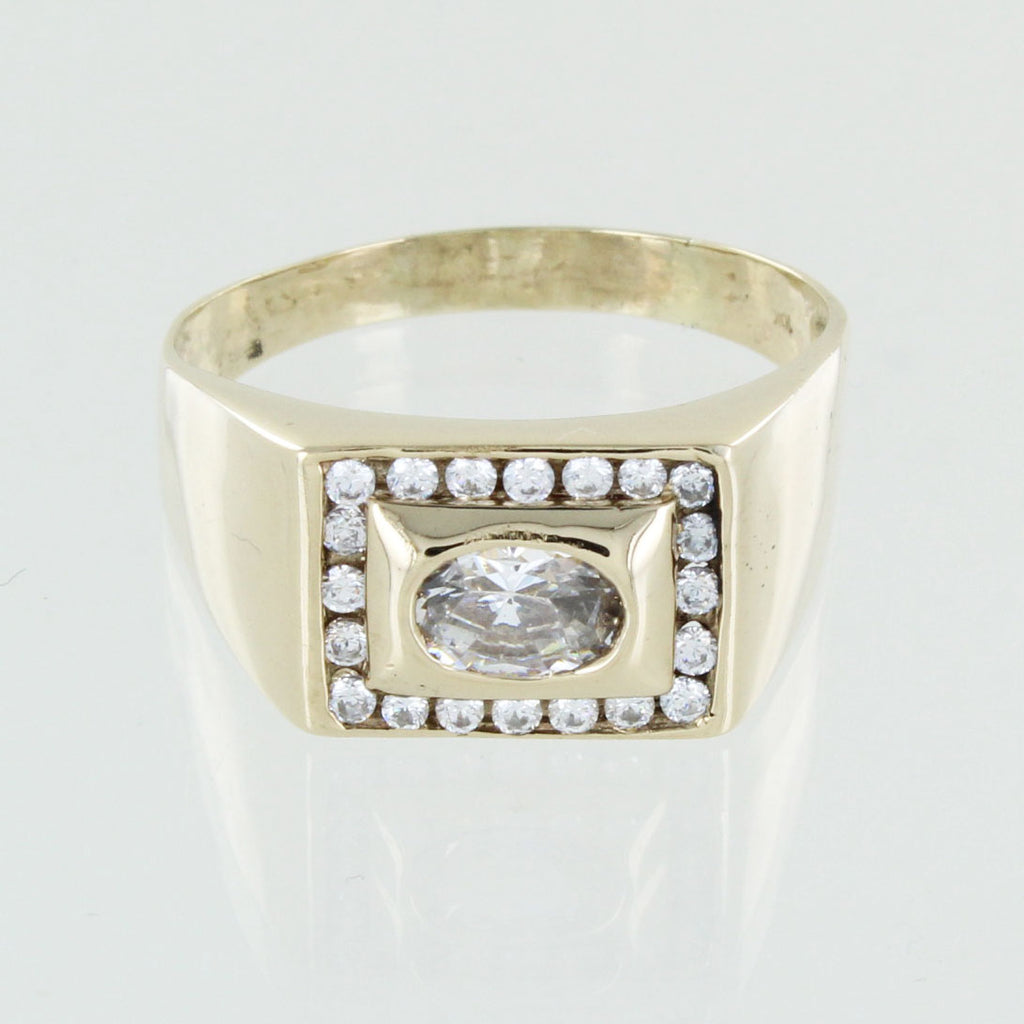 GENTS 10KT GOLD WHITE STONE RING SIZE 14