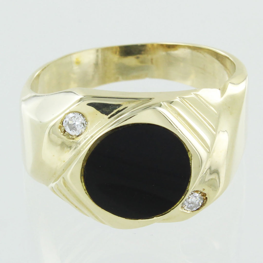 GENTS 14KT GOLD DIAMONDS AND ONXY RING SIZE 10