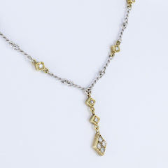 LADIES HANDMADE DIAMOND PENDANT/CHAIN NECKLACE 14KT TWO TONE GOLD